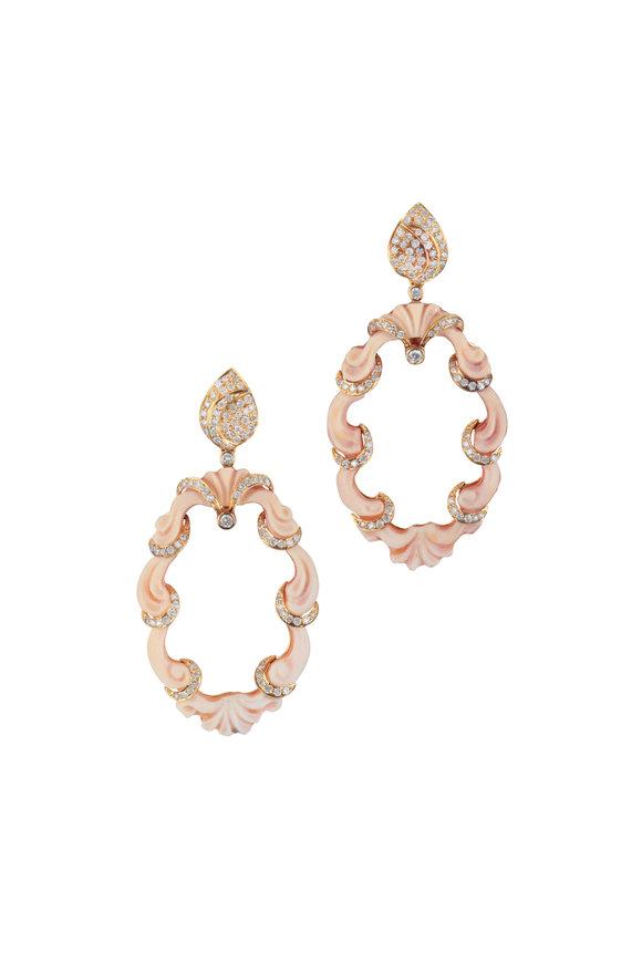 Loren Jewels 18K Yellow Gold Diamond Carved Shell Earrings