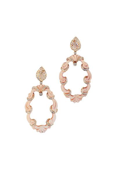 Loren Jewels - 18K Yellow Gold Diamond Carved Shell Earrings