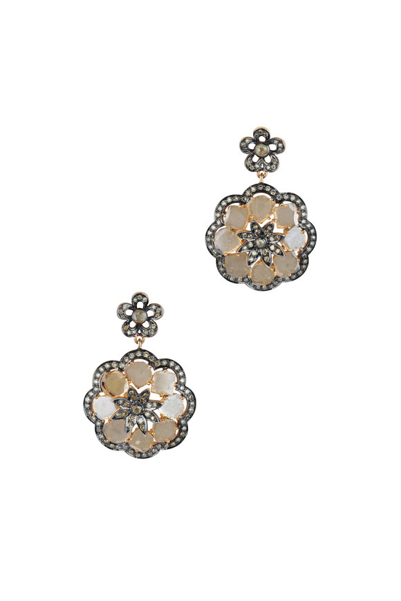 Loren Jewels 14K Gold & Silver Diamond Flower Earrings