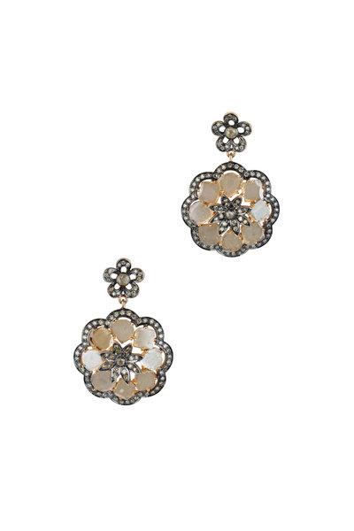 Loren Jewels - 14K Gold & Silver Diamond Flower Earrings