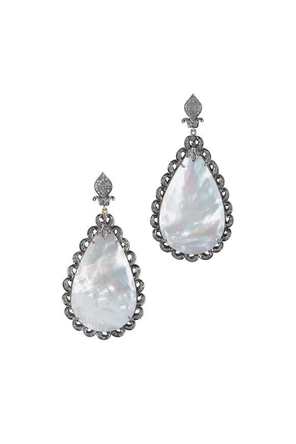 Loren Jewels Gold & Silver Diamond & Mother Of Pearl Earrings