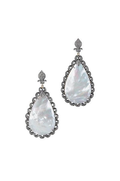 Loren Jewels - Gold & Silver Diamond & Mother Of Pearl Earrings