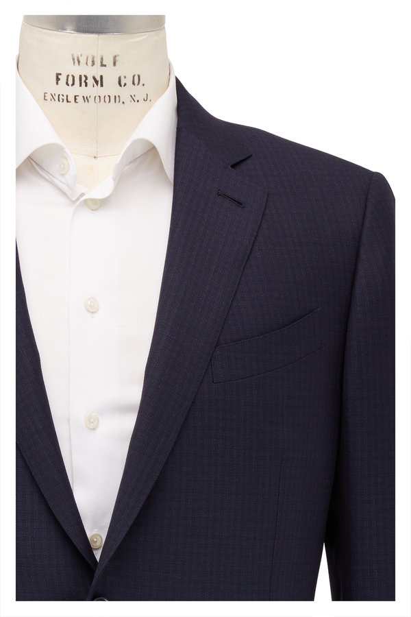 Ermenegildo Zegna Multiseason Navy Blue Textured Wool Suit