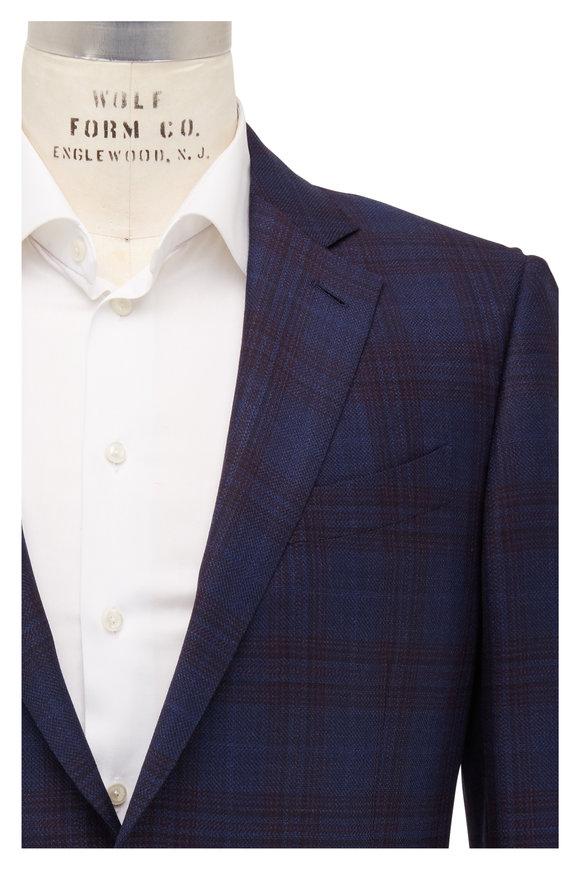 Ermenegildo Zegna Navy Blue Tonal Windowpane Wool Sportcoat