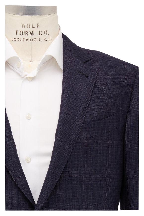 Ermenegildo Zegna Navy Blue & Mauve Windowpane Wool Sportcoat