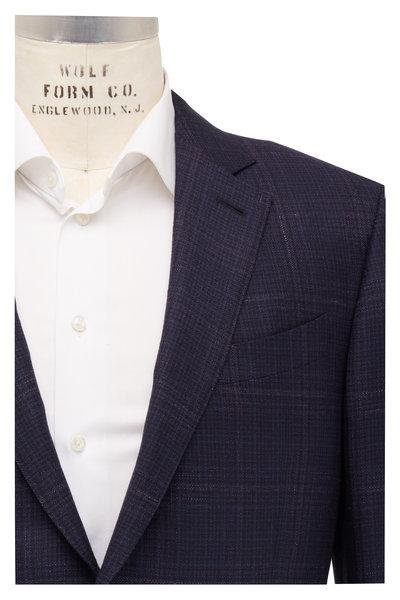 Ermenegildo Zegna - Navy Blue & Mauve Windowpane Wool Sportcoat
