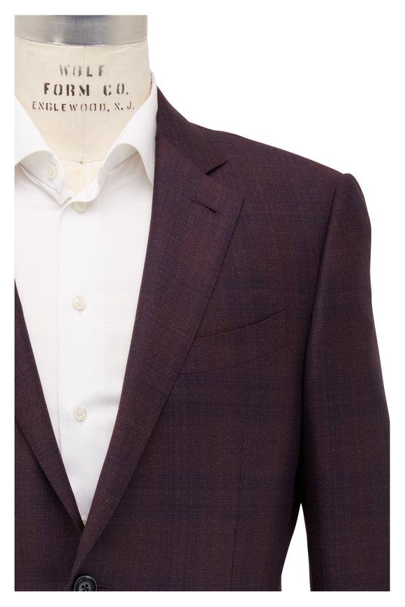 Ermenegildo Zegna Wine Tonal Plaid Wool & Silk Sportcoat