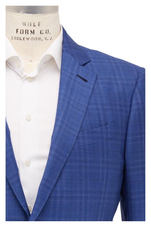 Ermenegildo Zegna Royal Blue Windowpane Wool Sportcoat