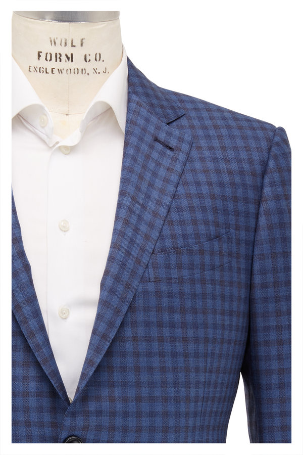 Ermenegildo Zegna Navy & Blue Grid Wool Sportcoat