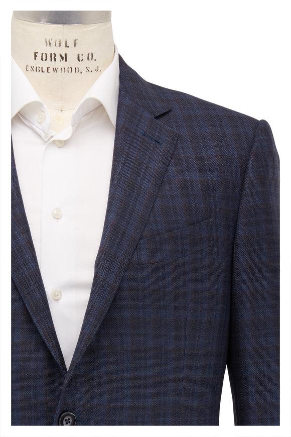 Ermenegildo Zegna Teal & Brown Glencheck Wool Sportcoat