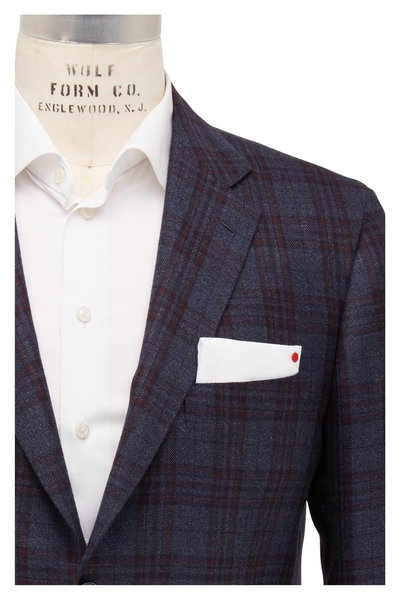 Kiton - Navy Blue & Red Plaid Cashmere Sportcoat