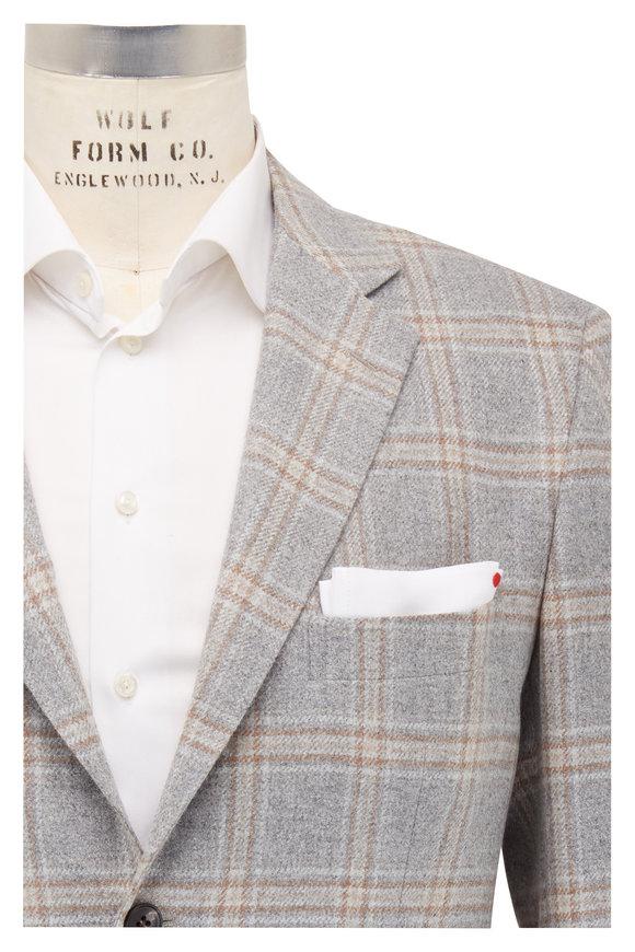 Kiton Light Gray Plaid Cashmere Sportcoat