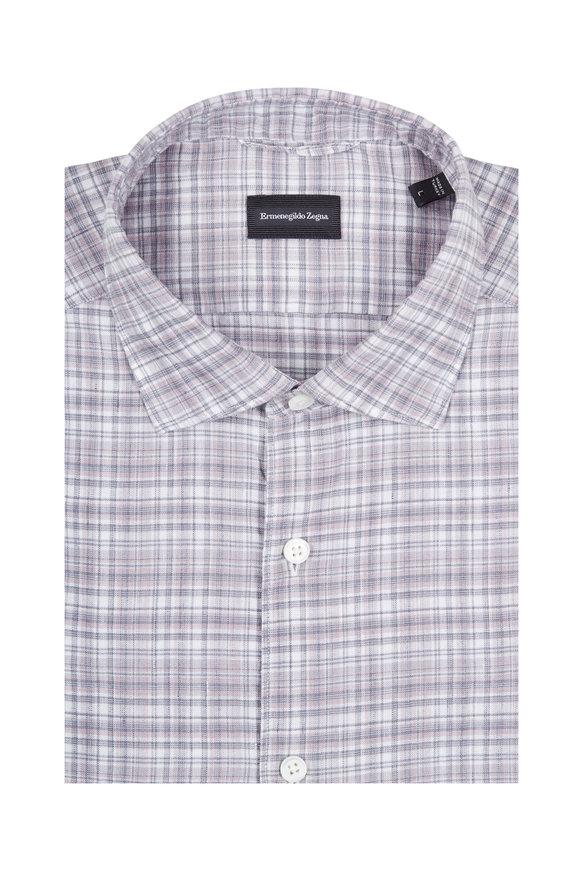 Ermenegildo Zegna Gray & Pink Plaid Cotton & Linen Dress Shirt