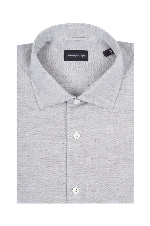 Ermenegildo Zegna Solid Olive Cotton & Linen Dress Shirt