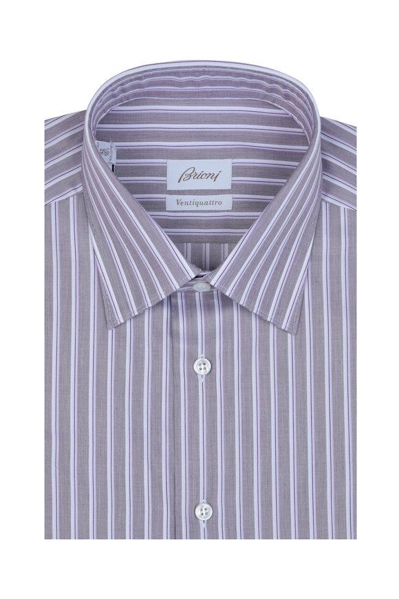 Brioni Wine Rope Striped Dress Shirt