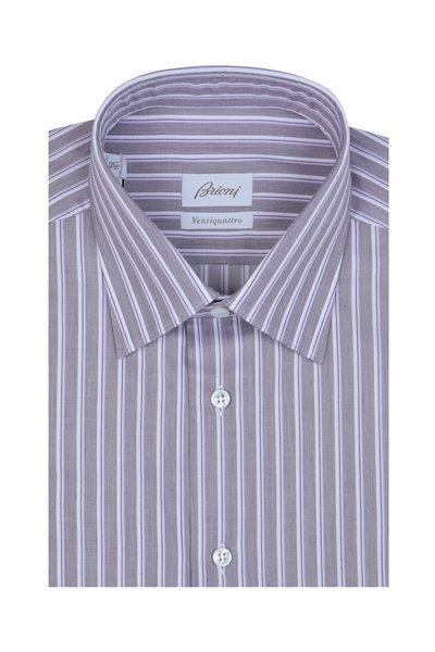 Brioni - Wine Rope Striped Dress Shirt