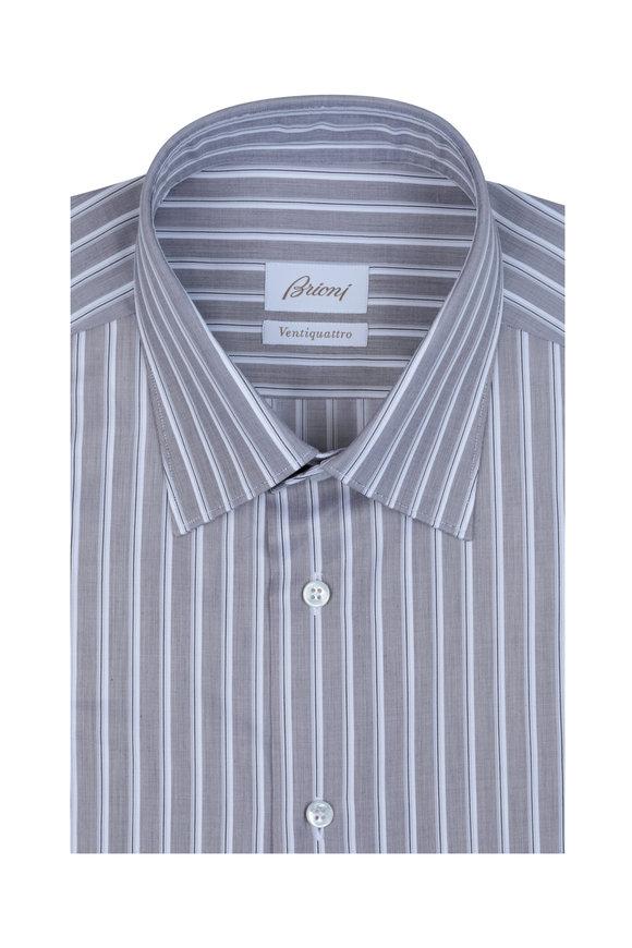 Brioni Gray Rope Striped Dress Shirt