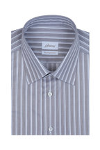 Brioni - Gray Rope Striped Dress Shirt