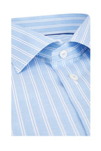 Eton - Blue & White Cotton & Linen Dress Shirt