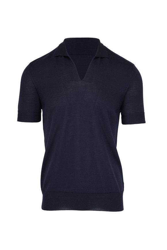 Orlebar Brown Mallory Navy Cotton & Silk Polo