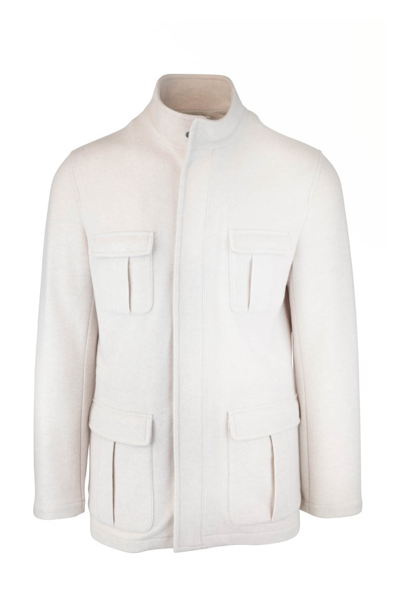 Kiton Cream Cashmere Safari Jacket