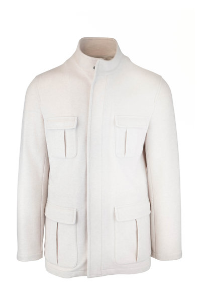 Kiton - Cream Cashmere Safari Jacket