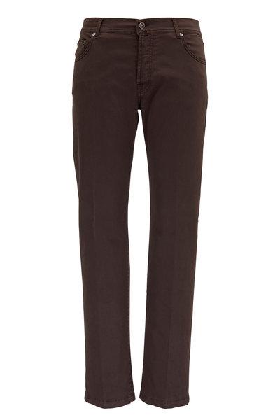 Kiton - Dark Brown Stretch Cotton Five Pocket Pant