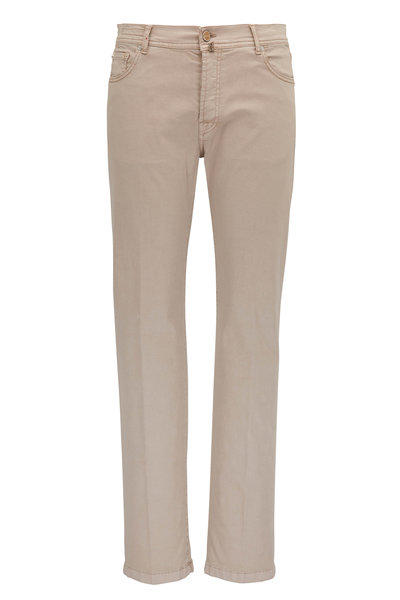 Kiton - Light Beige Five Pocket Slim Fit Pant