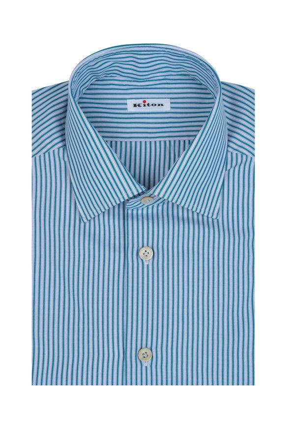 Kiton Green Striped Dress Shirt