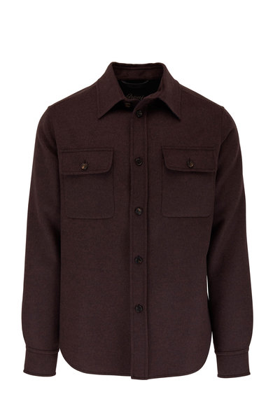 Brioni - Dark Brown Wool & Cashmere Overshirt