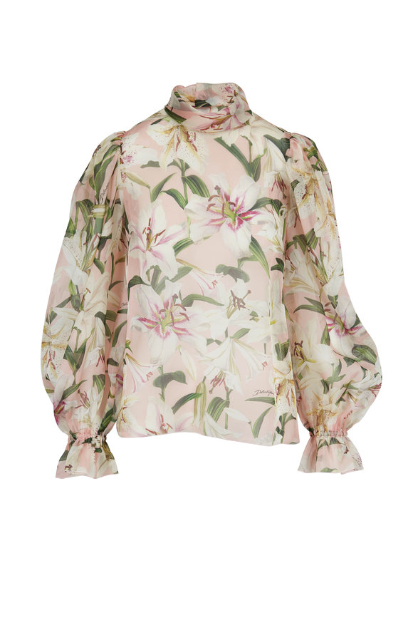 Dolce & Gabbana Light Pink Print Sheer Organza Blouse