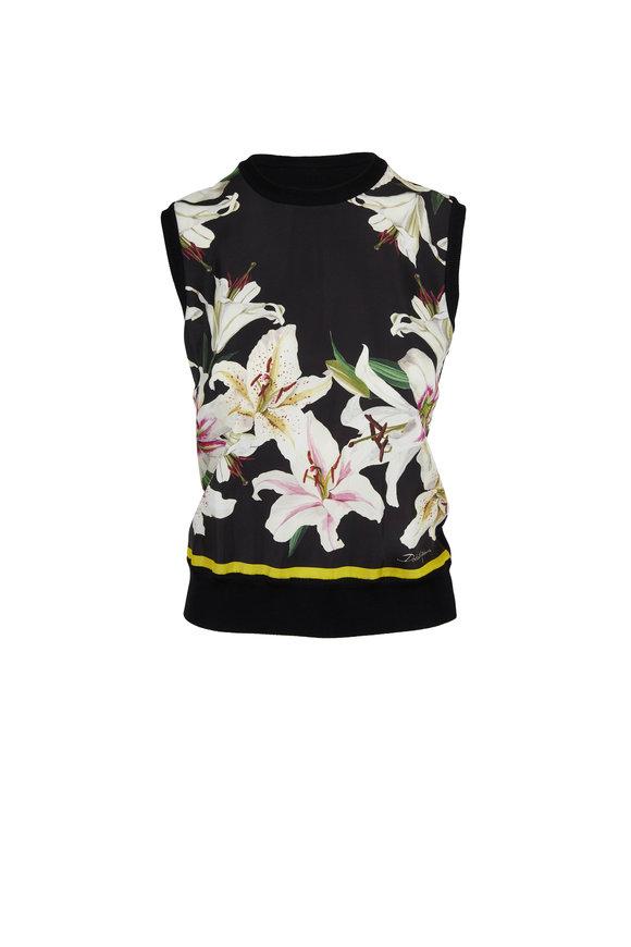 Dolce & Gabbana Black & White Lily Print Silk Shell
