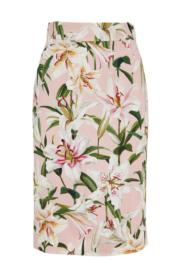 Dolce & Gabbana Light Pink Lily Print Stretch Pencil Skirt