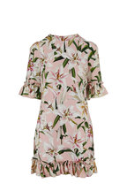 Dolce & Gabbana - Light Pink Lily Print Ruffle Dress
