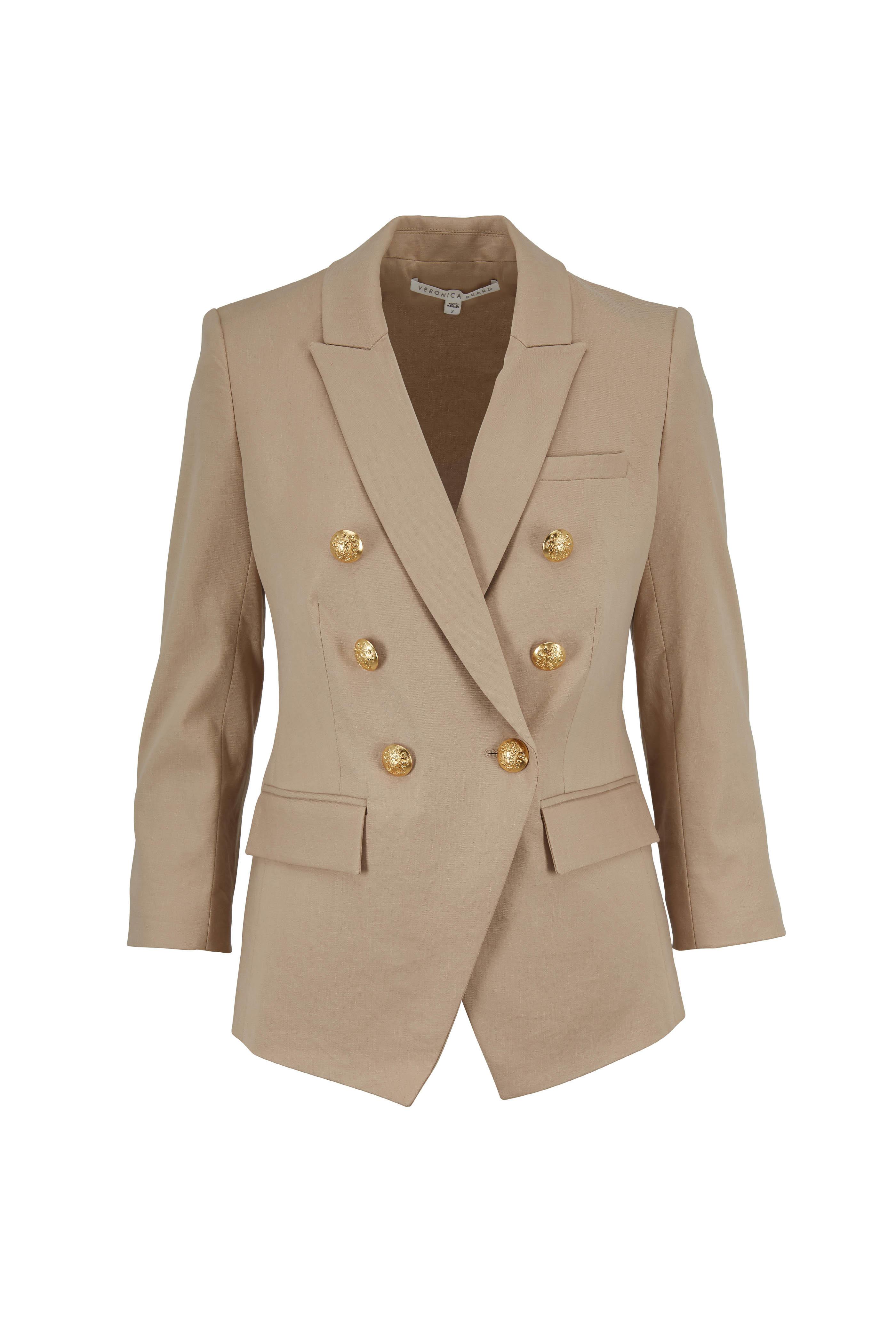 afd1e935c6d5 Veronica Beard - Empire Khaki Linen & Cotton Dickey Jacket ...