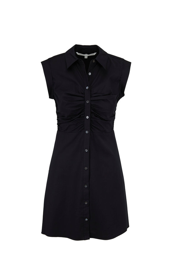 Veronica Beard Ferris Black Stretch Poplin Ruched Shirtdress