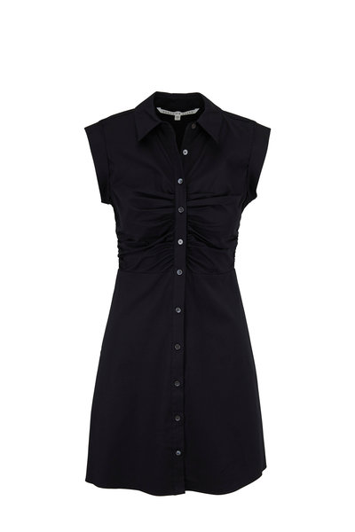 Veronica Beard - Ferris Black Stretch Poplin Ruched Shirtdress