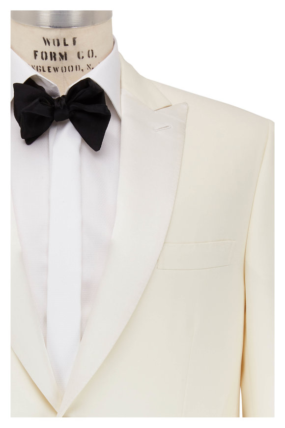 Brioni White Wool Single Button Dinner Jacket