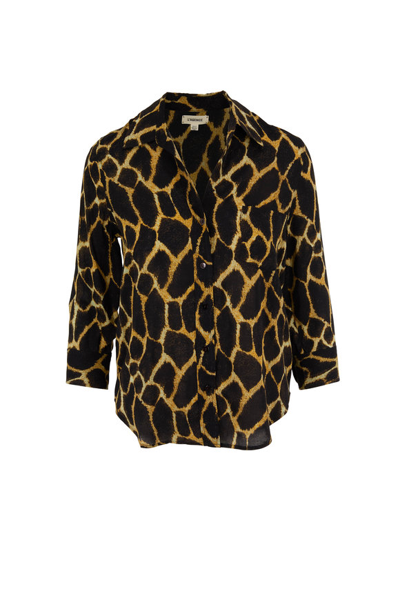 L'Agence Ryan Safari Print Three-Quarter Sleeve Blouse