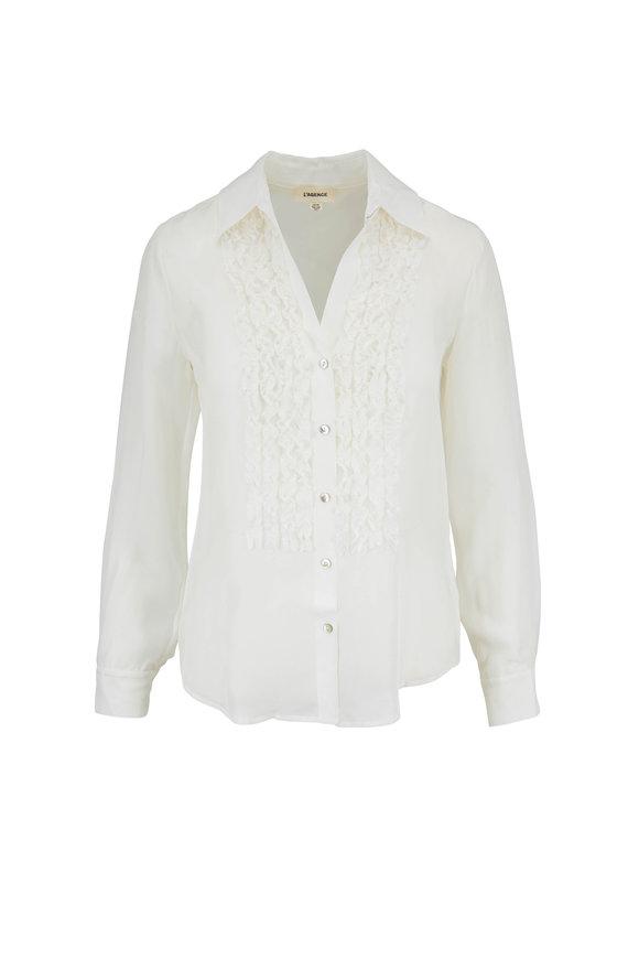 L'Agence Mari Ivory Silk Tuxedo Blouse