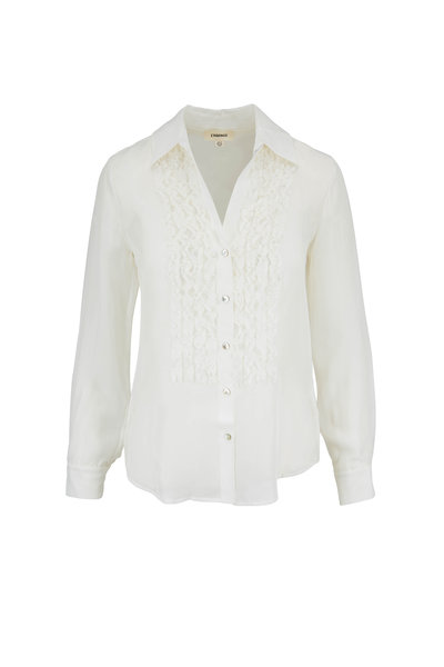 L'Agence - Mari Ivory Silk Tuxedo Blouse