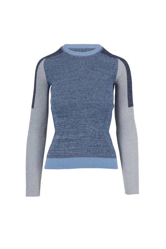Rag & Bone Tia Blue Colorblock Crewneck Ribbed Sweater