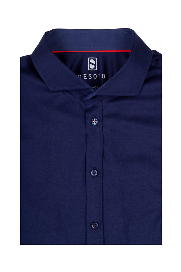 Desoto Solid Navy Button Front Sport Shirt