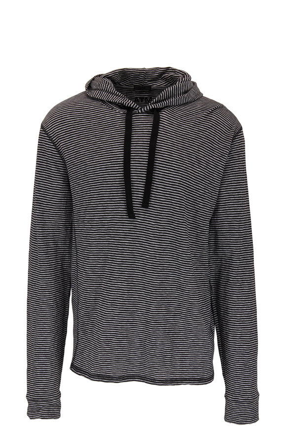 A T M Gray & Black Striped Cotton Hoodie