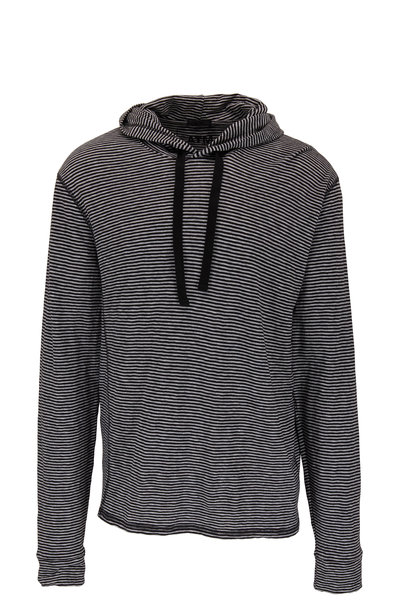 A T M - Gray & Black Striped Cotton Hoodie