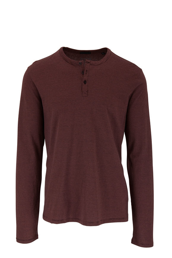 A T M Burgundy Striped Cotton Henley