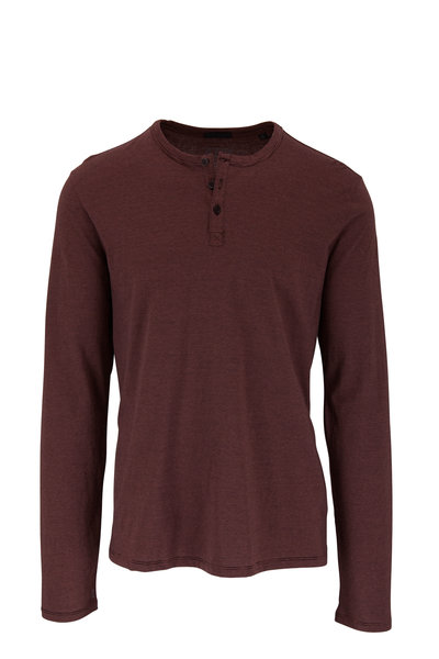 A T M - Burgundy Striped Cotton Henley