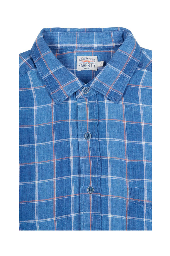 Faherty Brand Blue Indigo Linen Box Check Sport Shirt