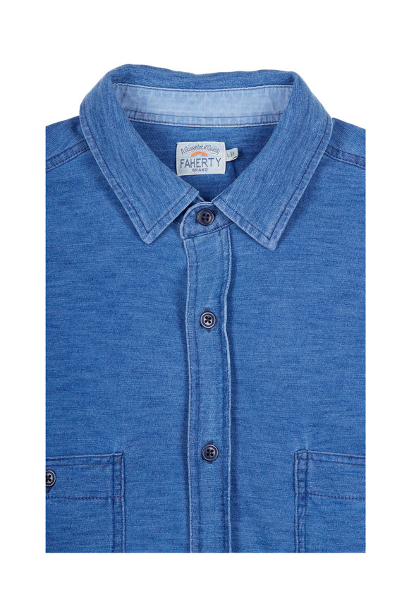 Faherty Brand Blue Knit Indigo Medium Wash Sport Shirt