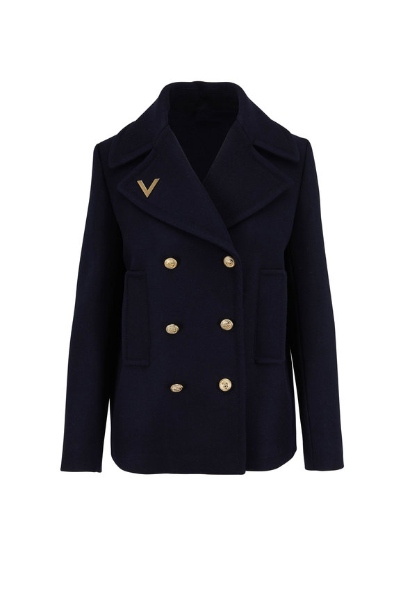 Valentino Navy Wool Double-Faced Peacoat